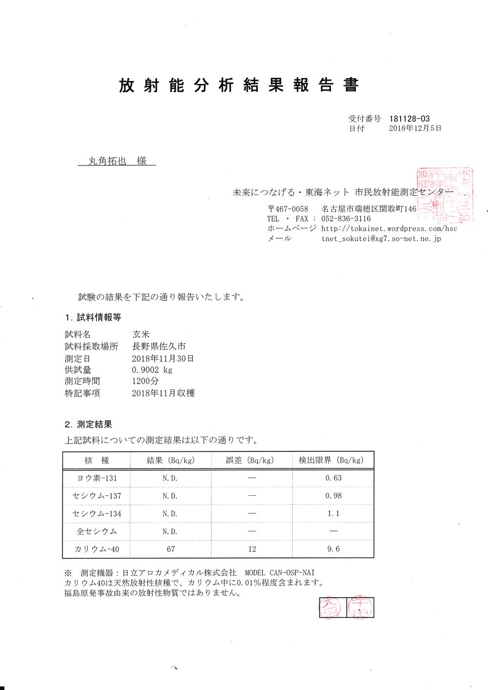 放射能検査結果のお知らせ玄米